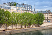 Seine river embankment with trees and old houses — Stock Photo