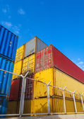 Colorful Industrial cargo containers. Vertical photo — Stock Photo