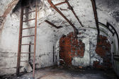 Old empty abandoned bunker interior with white walls — Stock Photo