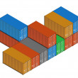 Stacked colorful metal freight shipping containers on white — Stock Photo #67076045