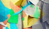 Abstract colorful chaotic polygonal fragments on concrete — Stock Photo