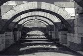 Interior of empty corridor with arcs. Ancient Smyrna. Izmir — Stock Photo