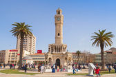 Konak Square with tourists walking near clock tower — Stock Photo