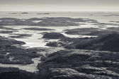 Monochrome Norwegian coastal landscape — Stock Photo