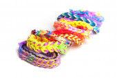 Colorful rubber band bracelets isolated on white — Stock Photo