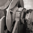 Closeup fragment of bow anchor winch on old ship — Stock Photo #68929229