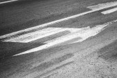 Road marking with tire tracks on asphalt — Foto de Stock