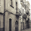 Narrow empty street view of Tarragona. Vintage stylized — Stock Photo #69225303