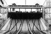 Railway ramp for loading industrial Ro-Ro ships — Stock Photo