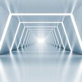 Resumen vacío luz azul brillante corredor interior — Foto de Stock