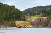 Norwegian small village, colorful wooden houses — Foto de Stock