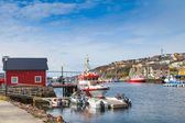 Small Norwegian village landscape, moored boats — Stock Photo