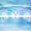 Abstract blue cloudy shining surreal tunnel interior  — Stock Photo #69610307