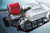 Supercharger, air compressor, street race car — Stock Photo