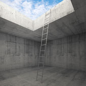 Metal ladder goes to the sky out from the concrete interior — 图库照片