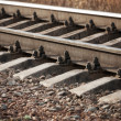 Modern railway details, close-up photo with selective focus — Stock Photo #71424667