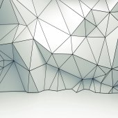 Polygonal 3d wireframe relief pattern on the wall — Foto Stock