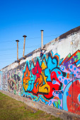 Colorful abstract graffiti painted on old gray wall — Stock Photo