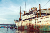 Old abandoned rusted ship stands moored in Varna — Stock Photo