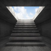 Stairway to heaven, abstract empty interior 3d — Stock Photo