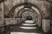Empty corridor with arcs and columns, Izmir — Stock Photo