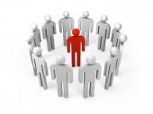 3d ludzie stoją w pierścień z jedna osoba czerwony wewnątrz — Zdjęcie stockowe