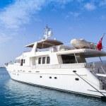 White pleasure motor yacht  stands moored in Izmir — Stock Photo #74255849