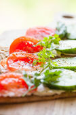 Rye crisp bread, soft cheese and vegetables — Stock Photo