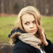 Caucasian teenage girl in a spring forest — Stock Photo #74647551