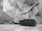 Abstract interior, concrete room with black sofa — Stock Photo