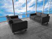 Bewolkte hemel en twee zwarte lederen sofa's, 3d — Stockfoto