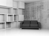 Decoration on the wall and black leather sofa, 3d — Stock Photo