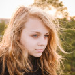 Portrait of beautiful teenage Caucasian blond girl — Stock Photo #75846757