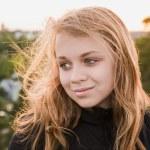 Beautiful blond teenage Caucasian girl — Stock Photo #76006517