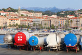 Trailer tanks stands in a row, Propriano port — Stock Photo
