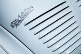 Radiator grille fragment of light blue Renault 4CV — Stock Photo