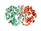 Red and green 3d explosion spheres fragments — Stock Photo