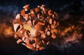 Explosioon illusration, cloud of spherical fragments — Stock Photo