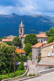 Houses and bell tower. Zonza, South Corsica — Stock Photo
