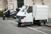White Piaggio APE 50 Van stands parked — Stock Photo