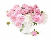 Rose and peony flowers bunch isolated on white background — Stock Photo