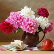 Still life with huge bunch of white, red and pink peonies — Stock Photo #63369707