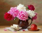 Still life with huge bunch of white, red and pink peonies — Stock Photo