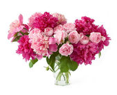 Huge bunch of peonies and cream roses in vase isolated on white — Stock Photo