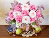 Still life with huge lilac flower and roses bunch — Stock Photo