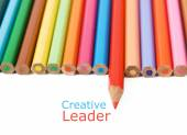 Colored pencil isolated on white background. Creative leader concept — Stockfoto
