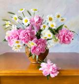 Still life with peonies and chamomiles on painting background — Stock Photo