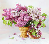 Still life with huge bunch of lilac and lily of the valley flowers on painting background — Stock Photo
