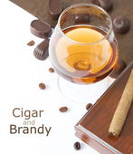 Cigar and brandy — Stock Photo