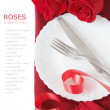 Roses bunch and table place setting with romantic decorations isolated on white background with sample text. Love, harmony and Valentine's day concept — Photo #64601549